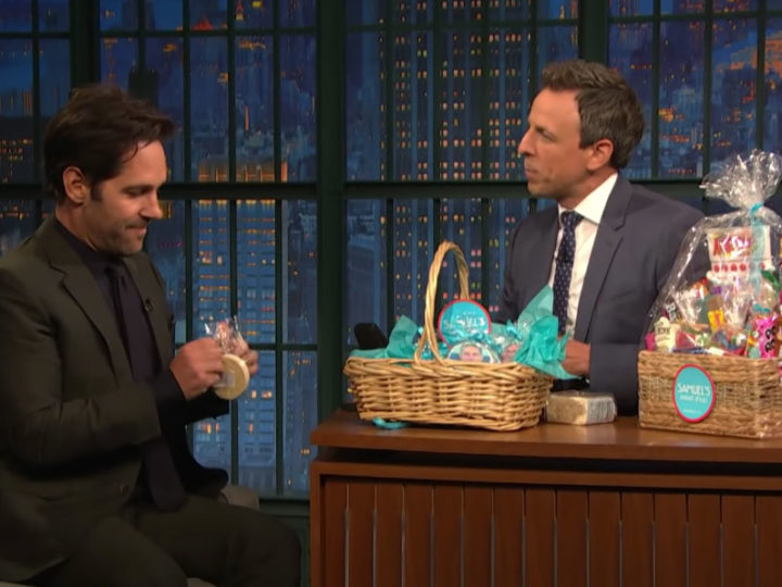 Paul Rudd Shares Samuel's Sweets with Seth Meyers