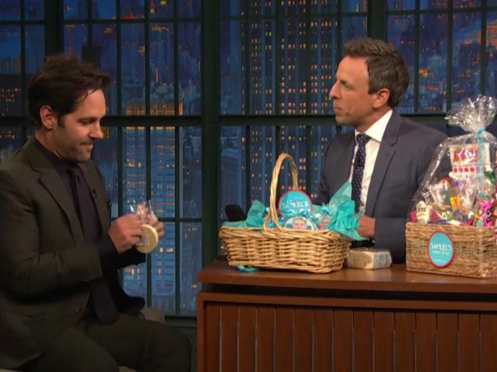 Paul Rudd Shares Samuel's Sweets with Seth Meyers
